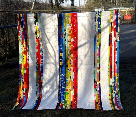 Modern quilt, Marimekko fabric, Rainbow colors, Scandinavian bed cover, patchwork, double size cotton coverlet