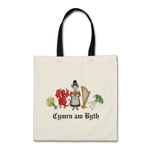 A fun Budget Tote Bag with a row of Welsh Emblems, a girl in welsh traditional dress, a red dragon, a bunch of leeks, a harp and a bunch of daffodils. Please feel free to change or remove the text if you wish: up to $11.95 - http://www.zazzle.com/fun_tote_bag_welsh_daffodils_dragon_leeks_harp-149069334180403167?rf=238041988035411422&tc=pintw