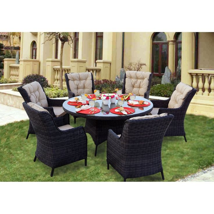 Darlee Valencia Charcoal 7-Piece Dining Set with Cushions and 60-inch Round Table