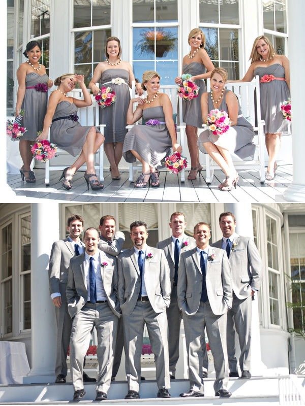 Silver grey with a touch of pink, wedding inspiration board.