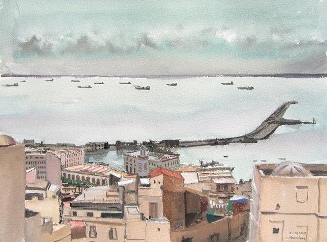 Alger, darse de l'Amirauté (Peinture),  31x23 cm par Gilles Chambon