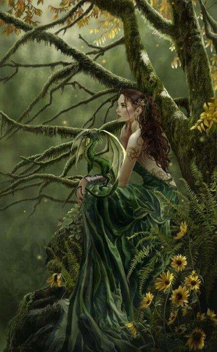 Waldelfe mit grünem Drachen ...