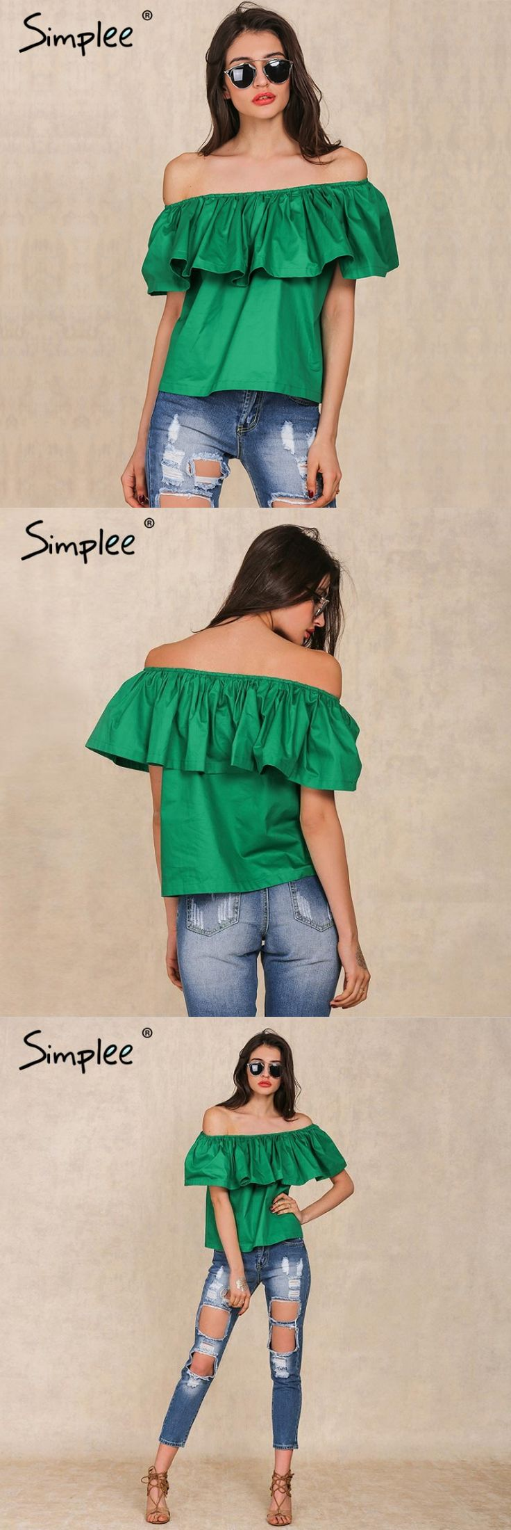 <3 Buy it now : Apparel Sexy slash neck ruffles women tops tees Off shoulder beach summer style tops Women blouses shirt party tube top <3 Price:  $9.79  Many colors available ;)