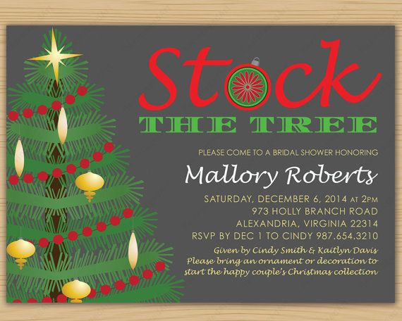 Bridal Shower Invitation Christmas Theme Stock by RevintagedArt