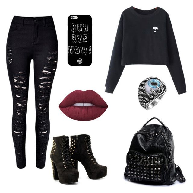 """""""AllBlack"""" by martyna-janas on Polyvore featuring moda, Chicnova Fashion, WithChic i Lime Crime"""