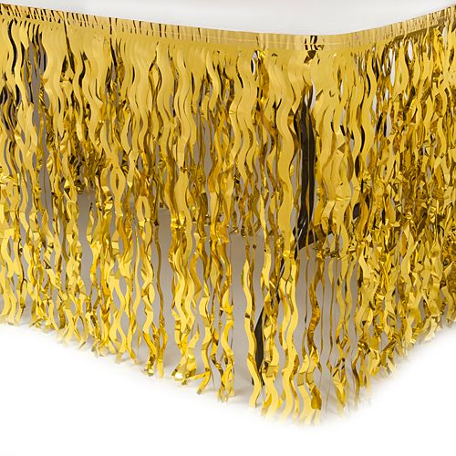 Gold Wavy Metallic Table Skirts
