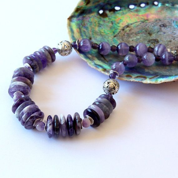 Amethyst Necklace/Gemstone Beaded by Fagiano on Etsy