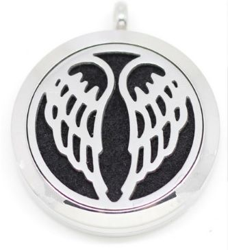 angel wings magnetic, stainless steel, aromatherapy diffuser pendant
