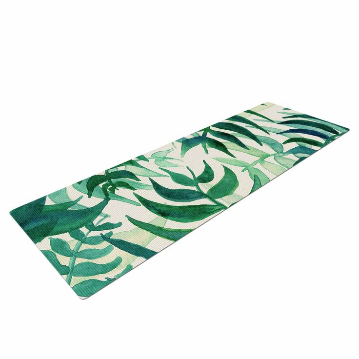 "Viviana Gonzalez ""Botanical Vibes"" Green Beige Watercolor Yoga Mat from KESS InHouse"