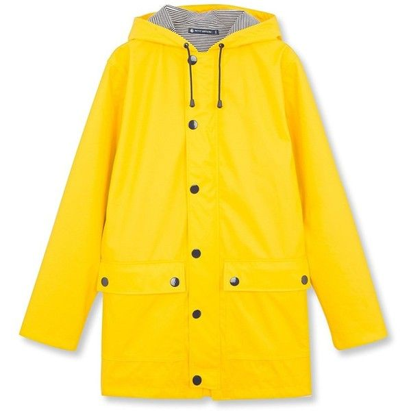 Iconic women's raincoat ($113) ❤ liked on Polyvore featuring outerwear, coats, rain coat, yellow rain coats, yellow raincoat, yellow coat and mac coat
