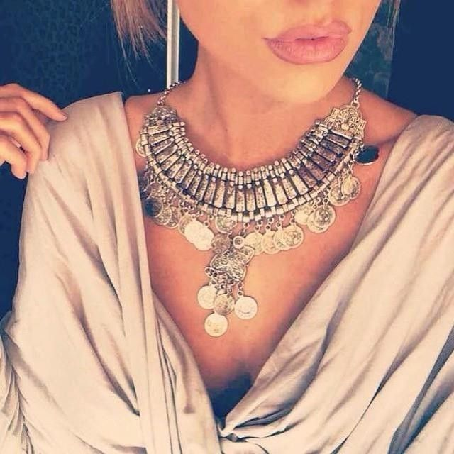 7c3196c21 Bohemian Vintage Chunky Maxi Statement Necklace Silver Coin Choker Pendant