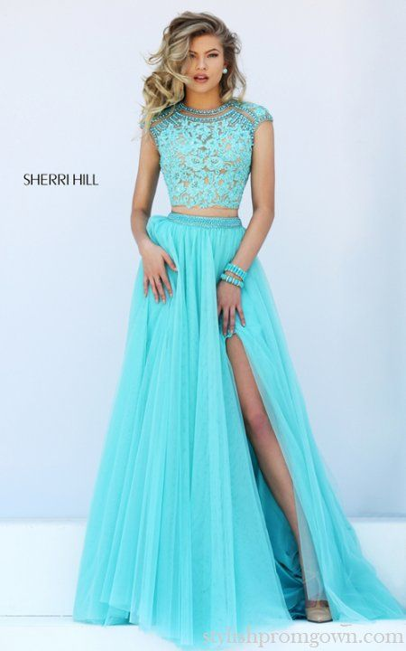 2016 Lace Open Back Sherri Hill Two Piece Prom Dress 50110 Blue