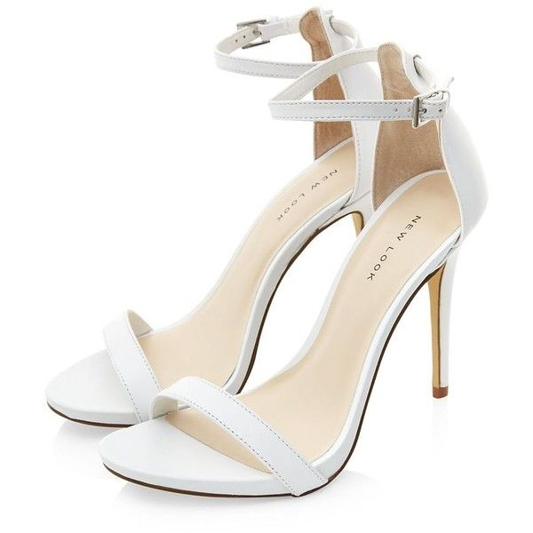 White High Heels With Ankle Strap - Qu Heel