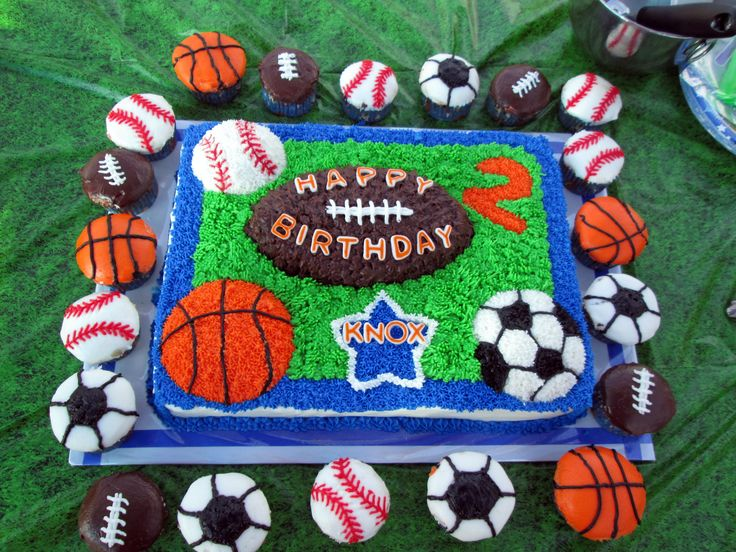 Sports theme birthday cake and cupcakes