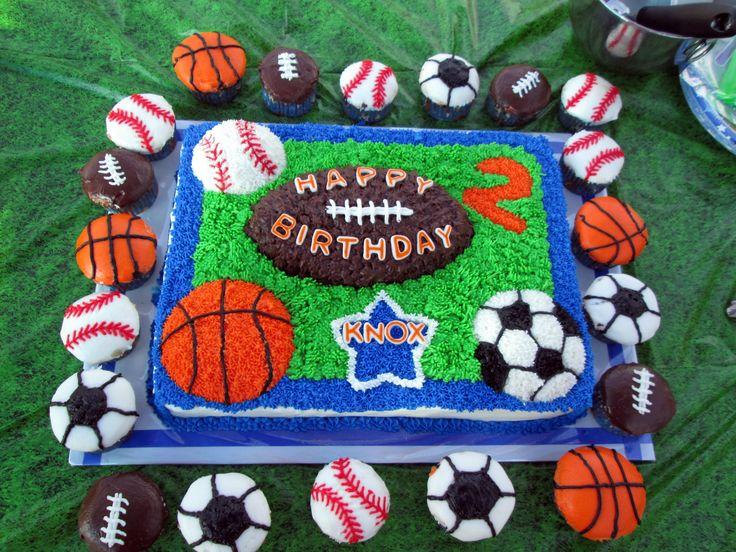 Sports theme birthday cake and cupcakes