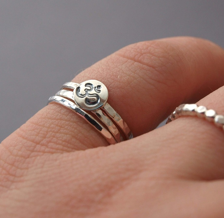 Sterling Silver Hammered Ring Stack - hand stamped design of your choice. $38.00, via Etsy.