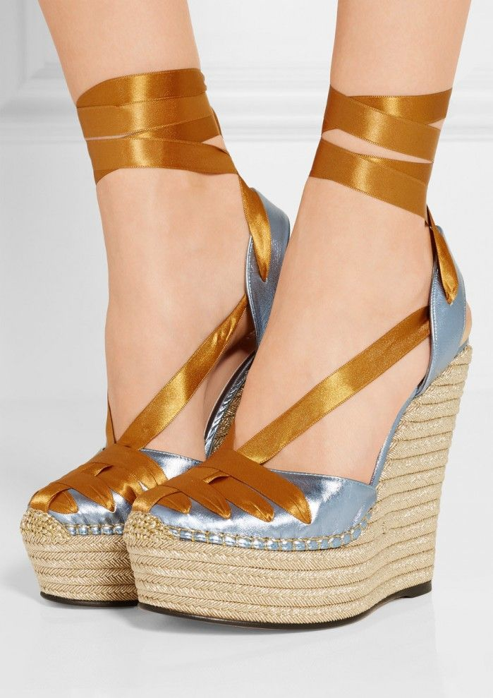 1eb1365d403 GUCCI Metallic leather and satin espadrille wedge sandals ...