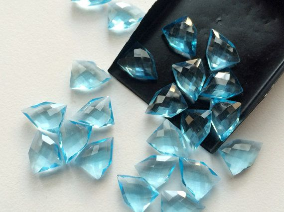 WHOLESALE 10 Pcs Aqua Blue Hydro Quartz Checker by gemsforjewels