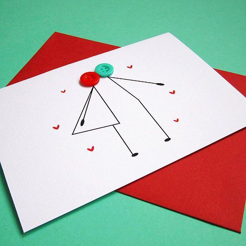 This handmade card is cute as a button, or two for that matter! Whip up this card to exchange love notes with your sweetheart or better yet, to congratulate a newly wed couple.