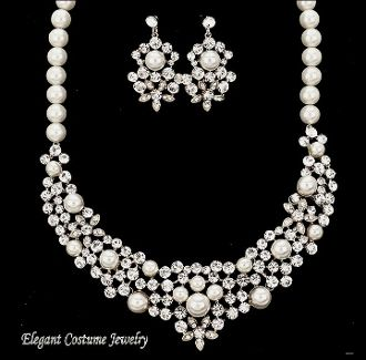 white pearl crystal necklace set elegant wedding bridal jewelry