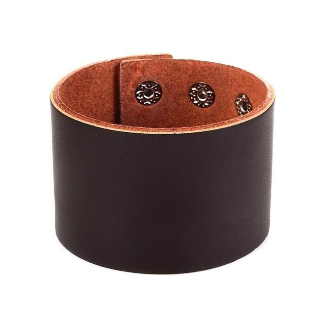 Smooth Design Wide Leather Cuff Bracelet