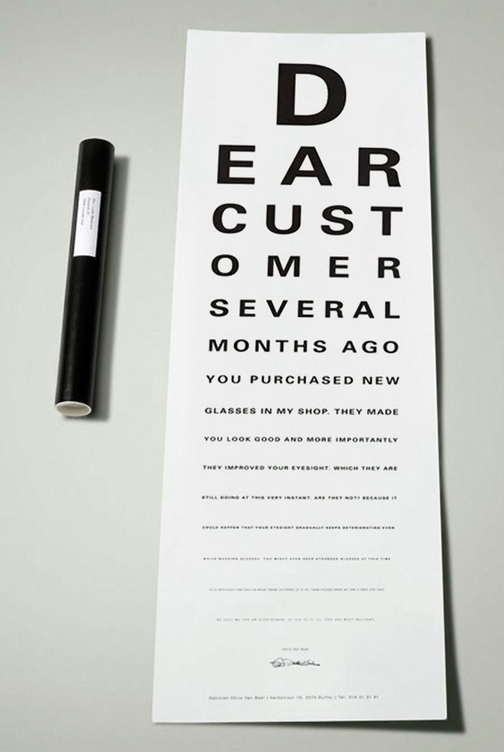40 best eye charts other optometric tools images on pinterest copy clever copyart direction for glasses brand eye glasses exam ads seem to pop up a lot though clever copy at the bottom of the letter is it nvjuhfo Images