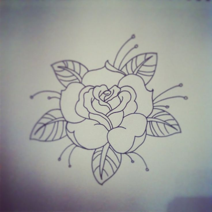Line Drawing Rose Tattoo : Traditional rose tattoo linework