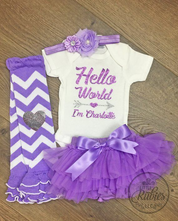 6ece4f29a Hello World Newborn girl coming home outfit Baby girl welcome home outfit  Bringing home outfit Newborn coming home girl Hello world outfit