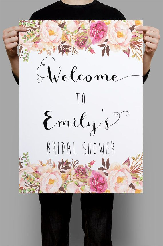 Floral Bridal Shower Welcome Sign Printable wedding sign wedding poster wedding decor DIY wedding welcome wedding decoration digital files Welcome your guests with this gorgeous watercolor floral greeting sign on your special day. If you need a bigger size, just contact me prior to purchasing. To Place Your Order : : : : : : : : : : : : : : : : : : : : : : : • Purchase this listing • At checkout, please provide your names and wedding date. • You will receive a JPEG of your files for