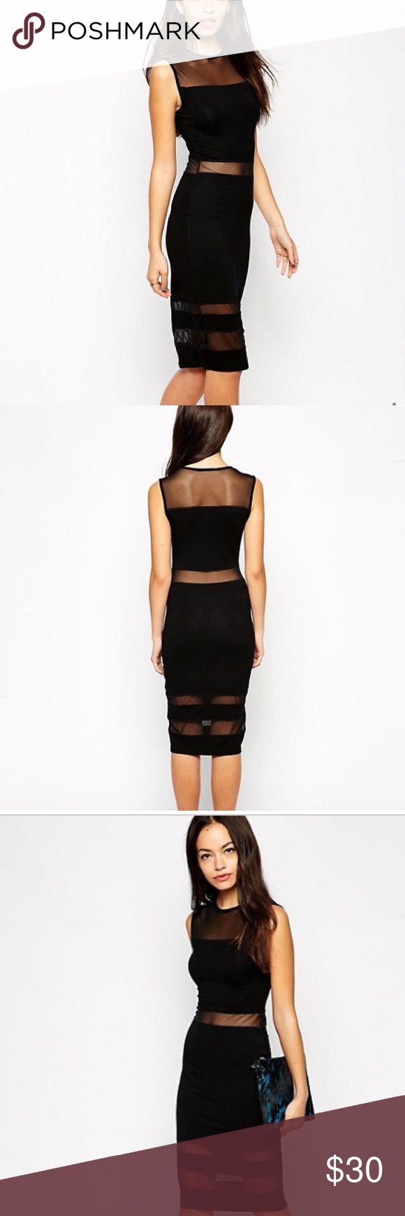 ASOS PETITE Bodycon Midi Dress with Sheer Insert Every girl needs a black dress. And this ones guaranteed to turn heads. 👀 Like new, in excellent condition. Worn only once ASOS Petite Dresses Midi