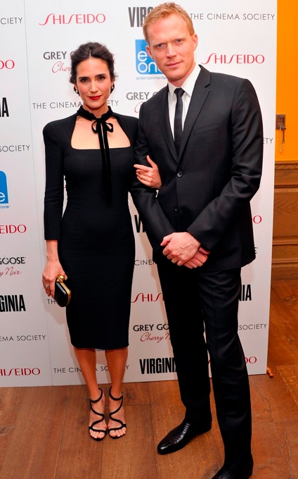 Jennifer Connelly in Alexander McQueen with her husband Paul Bettany