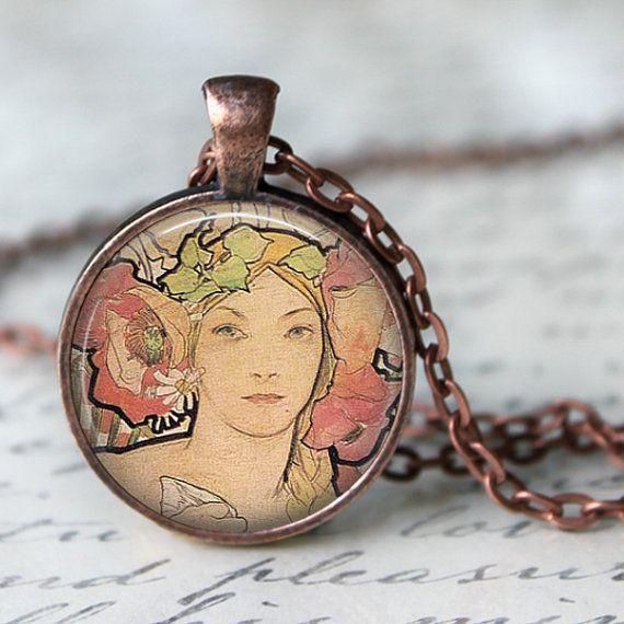 Alphonse Mucha Pendant Necklace Art Nouveau by LiteraryArtPrints