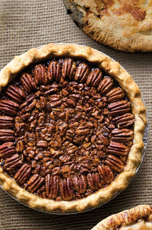 This pecan pie's toffee-like interior and beautiful bronze top layer of halved pecans won first place in Oklahoma's Drummond Ranch pie contest.