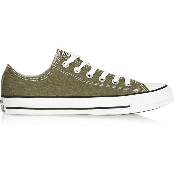 Converse Chuck Taylor canvas sneakers (€43) ❤ liked on Polyvore featuring shoes, sneakers, army green, lacing sneakers, lace up shoes, lace up sneakers, canvas sneakers and olive shoes
