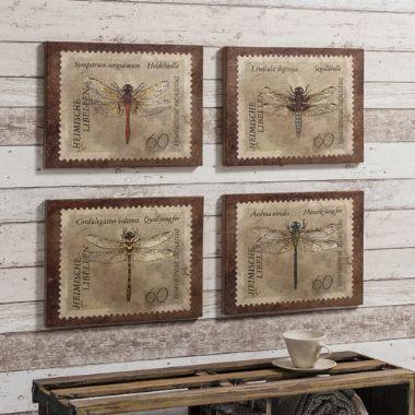 Dragonfly Burlap Canvas, Set of 4 - £55 | brandinteriors.co.uk