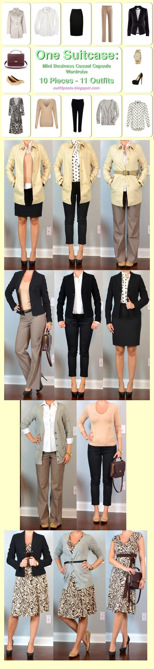 Outfit Posts: one suitcase: mini business casual capsule wardrobe