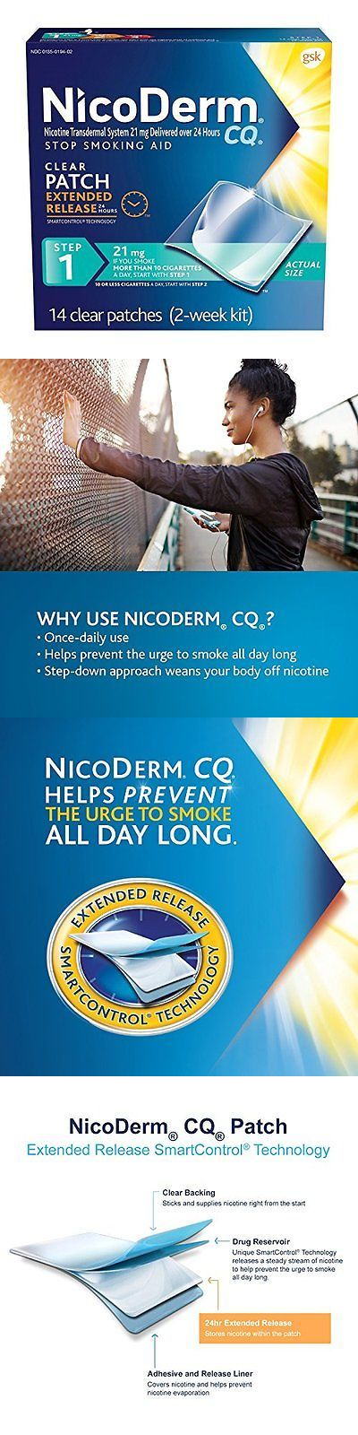Patches: Nicoderm Cq Clear Nicotine Patch 21 Milligram (Step 1) Stop Smoking Aid 14 Count BUY IT NOW ONLY: $43.32