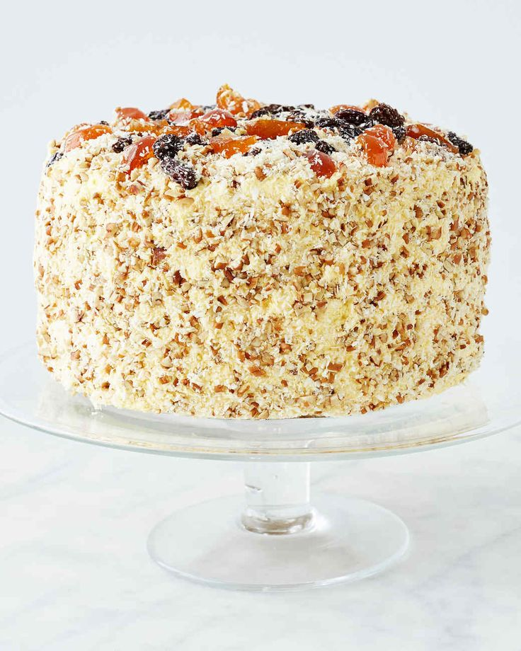 Invented by Emma Rylander Lane in the late 19th century, this bourbon-spiked raisin, pecan, and coconut showstopper gets more flavorful with age. Martha made this recipe on episode 707 of Martha Bakes.