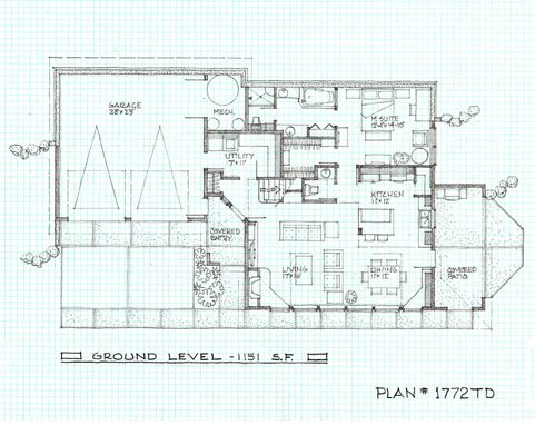 1772 sq ft passive solar design this is the downstairs for Zero energy plans
