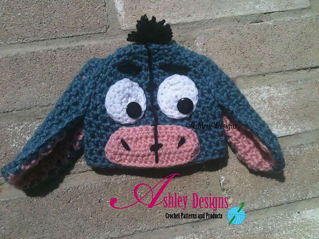 A Free Ravelry download: Eeyore Beanie pattern by Ashley Brooke