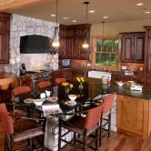 Dura Kitchen Cabinets in an Island Style Kitchen Layout with rustic design and stone