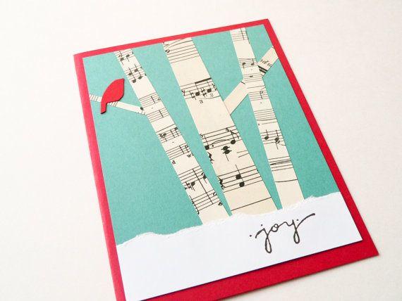 Items similar to Winter Birch Trees - Weihnachtskarte - Handmade Card - Holiday Greeting Card - Wald, roten Vogel, Weinlese-Musik, Schnee on Etsy
