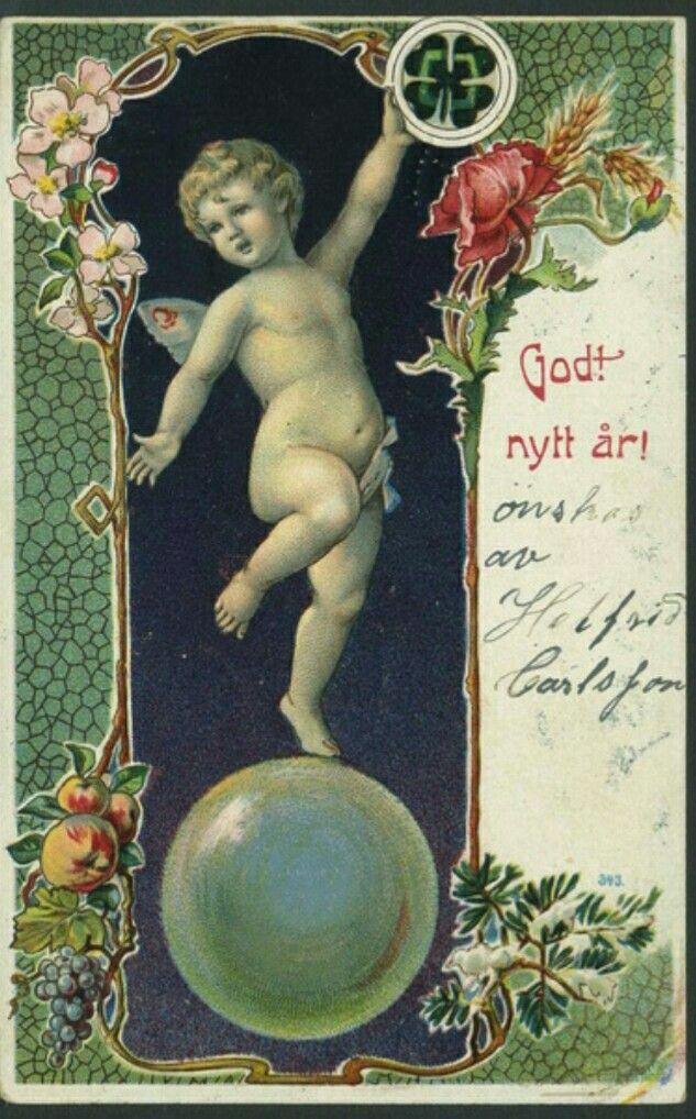 Art Noveau Nyttårskort brukt 1907 svensk utgiver