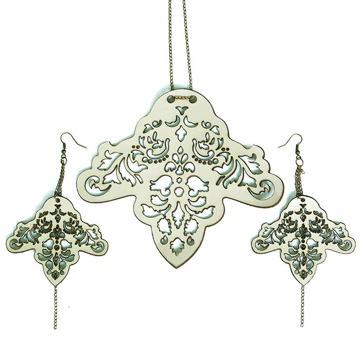 Matching earrings and necklace set inspired by Islamic art. Made from…