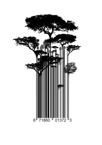 Barcode Trees illustration.  Art Print.  http://society6.com/product/Barcode-Trees-illustration_Print