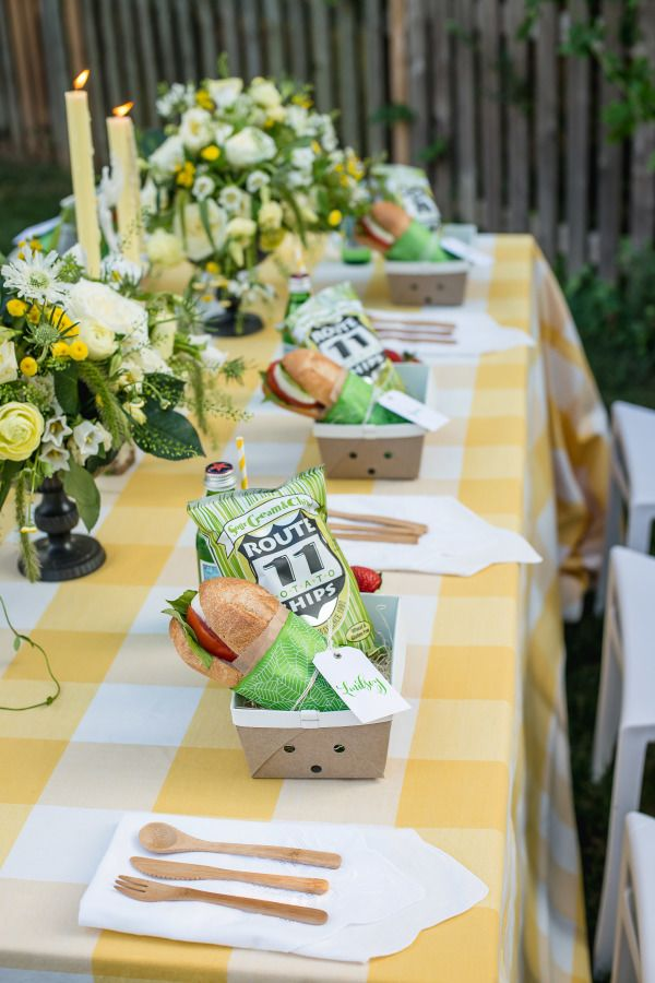 Personalized picnic dinners: http://www.stylemepretty.com/living/2015/09/08/ladies-fantasy-football-draft-inspiration/ | Photography: Michelle Lindsay - http://michellelindsayphotography.com/