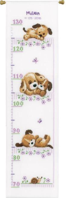 Playing Dogs Growth Chart - Cross Stitch Kit