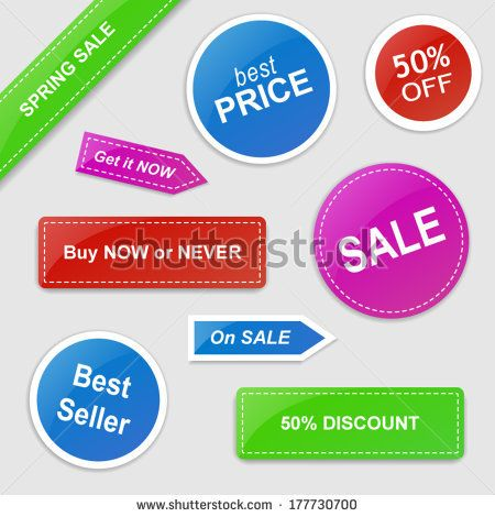 Set of vector stickers with Sale theme - green, blue, red and purple | http://www.shutterstock.com/g/ajinak