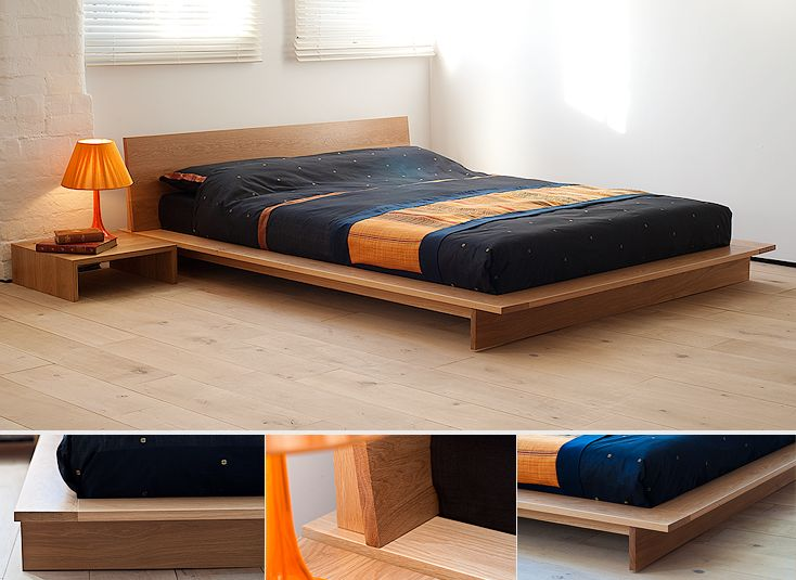 Oregon oak bed a dramatic low platform bed the mattress for Dramatic beds