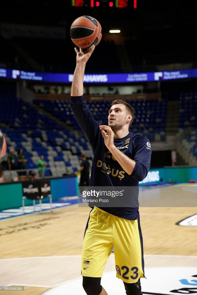 Marko Guduric, #23 of Fenerbahce Dogus Istanbul warming up the 2017/2018 Turkish Airlines EuroLeague Regular Season Round 1 game between Unicaja Malaga v Fenerbahce Dogus Istanbul at Martin Carpena Arena on October 12, 2017 in Malaga, Spain.